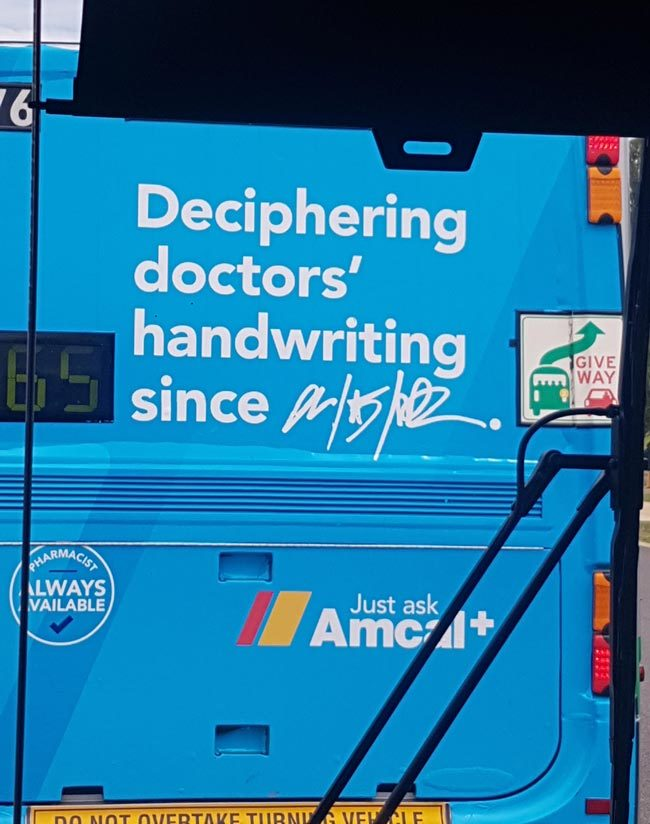 An advertisement on the back of a bus