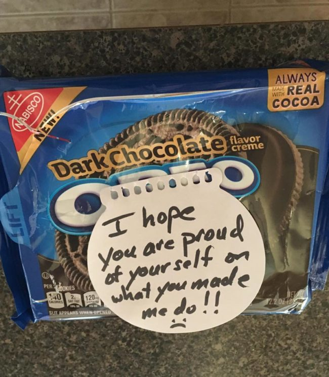 My dad ate this package in one day and left this note for my mom (who bought it after she heard my dad was trying to resist the temptation)
