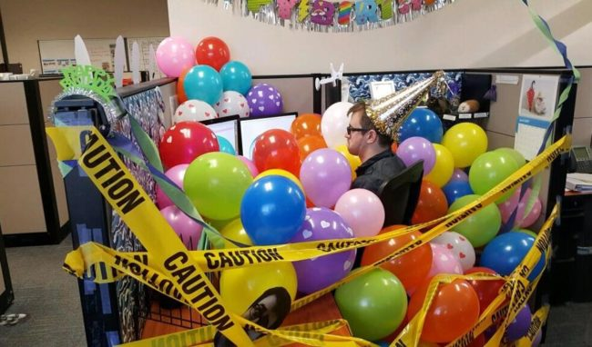 It's our coworkers birthday today. Here's what our team did for him...
