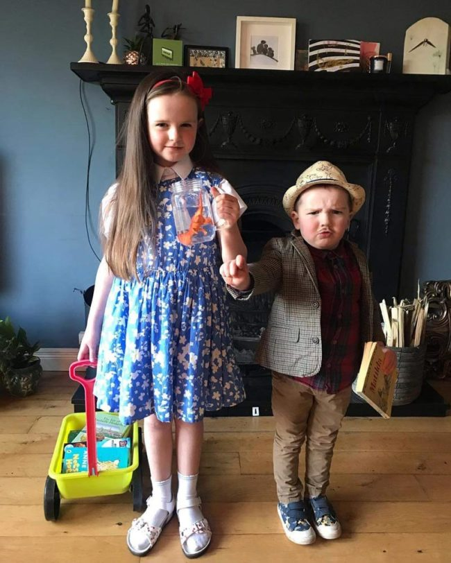 My niece and nephew dressed as Matilda and Harry Wormwood