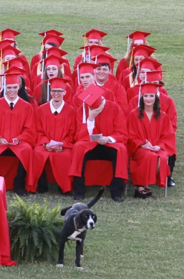 Good boy shows his love for the new graduates