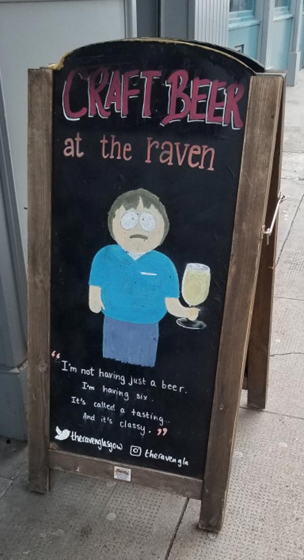 Sign out front of a pub in Glasgow the other day