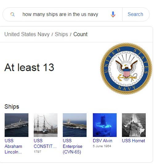 The actual google result