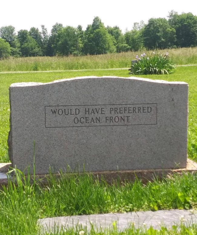 The back of this gravestone