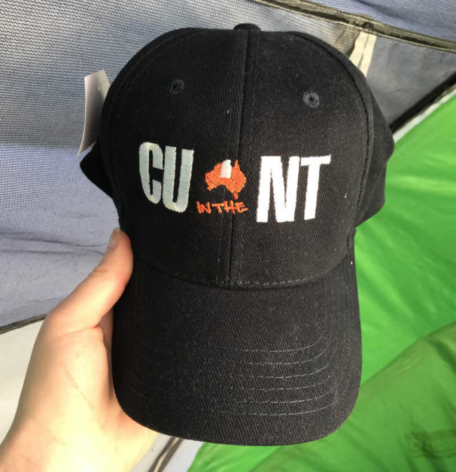 "Visiting Uluru. Got this souvenir hat for my friend. ""See You in the Northern Territory"" mate!"