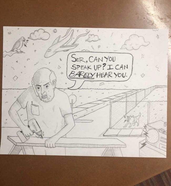 I work in a call center. I like to draw my callers sometimes. Here is a caller that can't quite hear me for some reason: