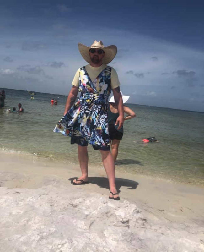 We take turns wearing this dress in various public places. I wore it fishing at a relatively empty park area. He has upped the game by wearing it to a beach in Florida. I am dreading my next turn