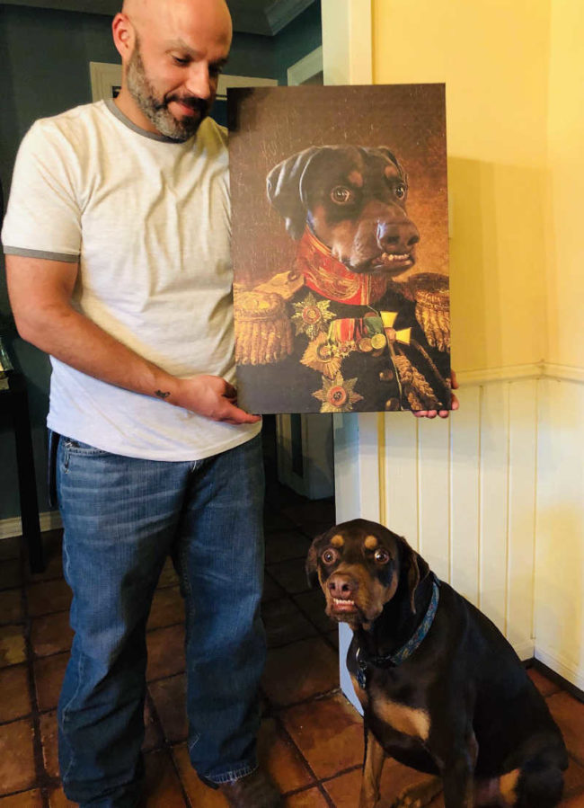 My friend's birthday gift to her husband: A fantastic painting of their Derperman Pinscher