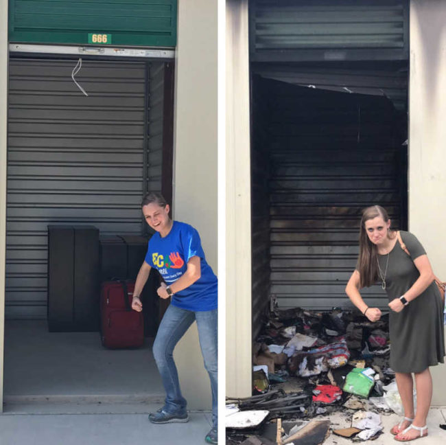 The time my wife & I rented a particularly unholy storage unit (#666) that ended up mysteriously burning down one day..