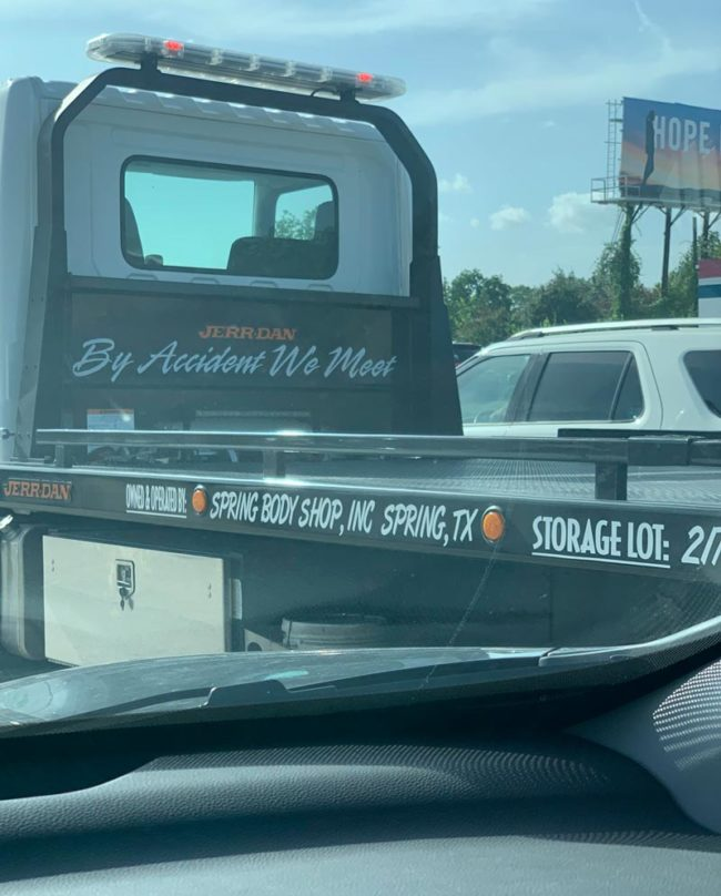 Saw this on a towing truck today