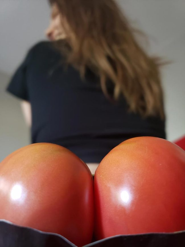 My sister was really inspired by the sexy tomatoes from our garden