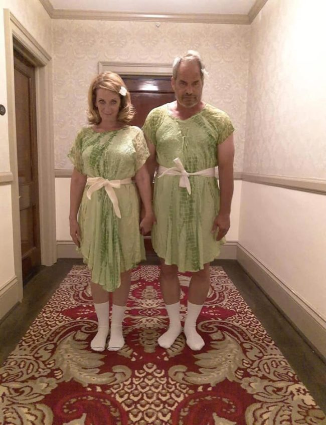 Lucky enough to find matching dresses for my boyfriend and me so we could do this pose at the Stanley Hotel