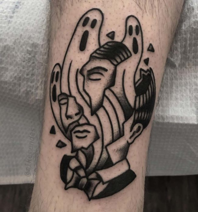 The ghosts in my head by Mike Mendes at Under My Thumb Tattoo Shop in Toronto, Ontario