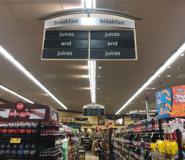 Y'all know where I can find the juice aisle?