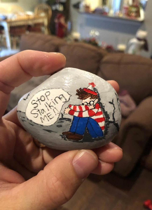 My aunt painted this rock for my brother's Christmas gift