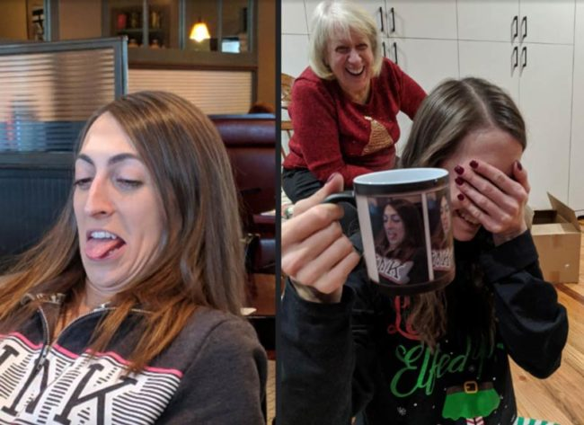 My sister learned a valuable lesson this Christmas: If you let your older brother take an ugly picture of you, you will get it on a custom color-changing mug as a gag gift