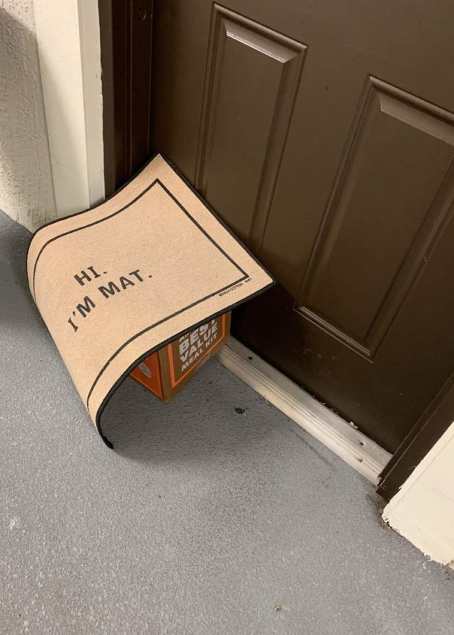 I came home to a postman's noble attempt to hide my package. Nobody will suspect a thing