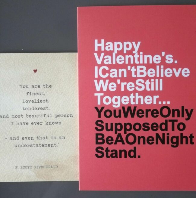 My dad's valentine's card on the left, compared to my mom's