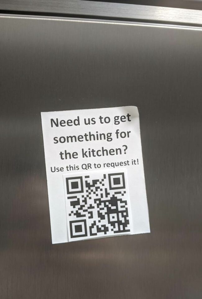 "Replaced QR code on fridge at work. It goes to ""Never gonna give you up"" by Rick Astley on YouTube now"