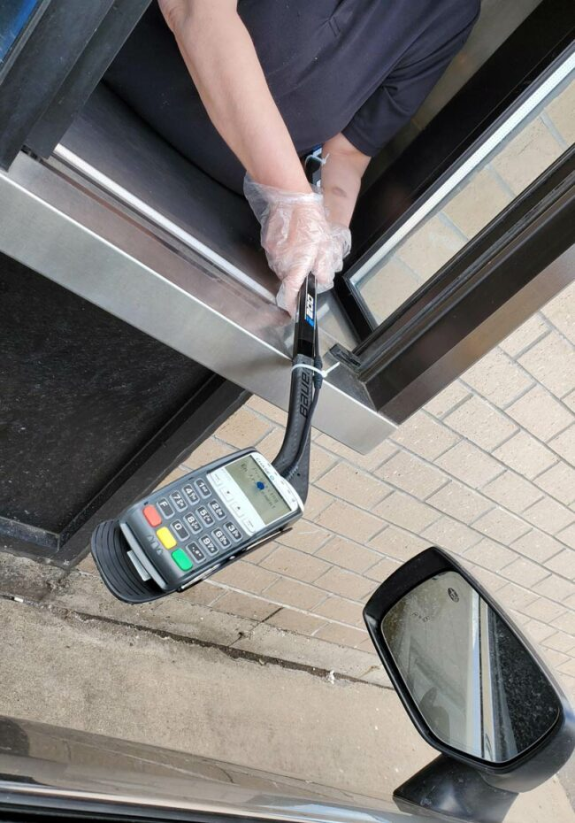 How Canadians pay by debit at the drive through