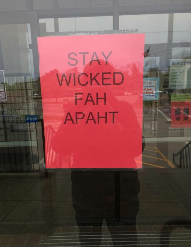 Sign at the post office in my Massachusetts home town