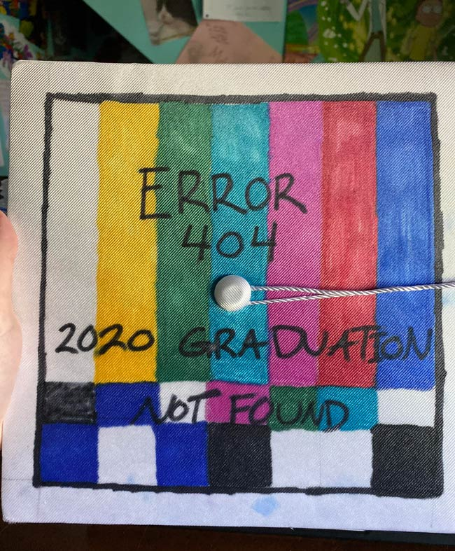 Grad cap this year, not the best at drawing but I think it's cool