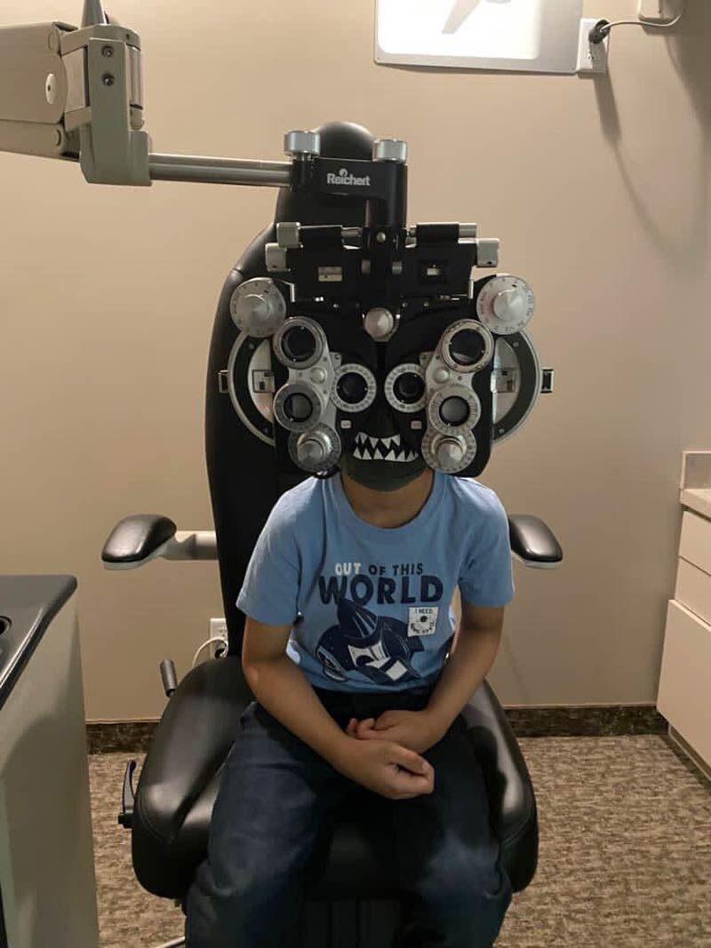 We took the 6-yo to the optometrist with his monster mask and I think we have our own supervillain