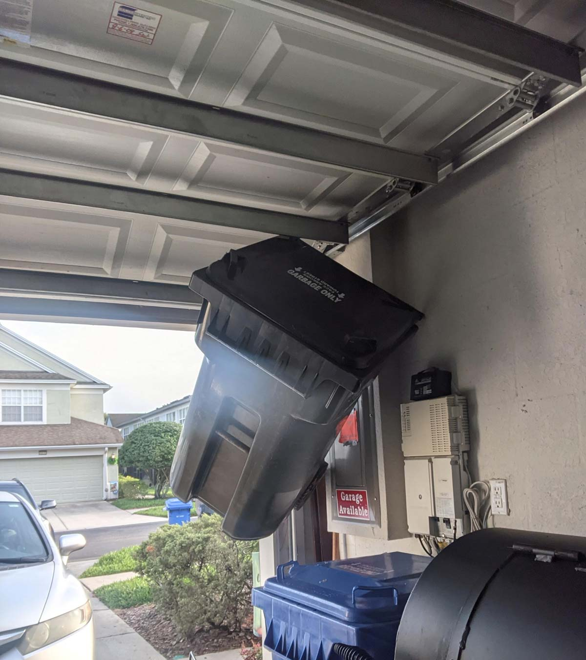 Opened the garage to take out the trash this morning